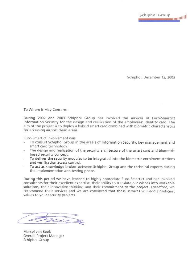 Schiphol Group letter of recommendation
